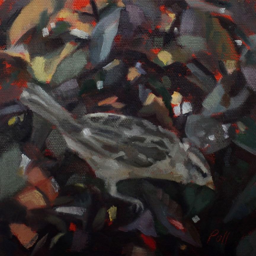 """""""Bird in a Bush"""" original fine art by Pamela Poll"""