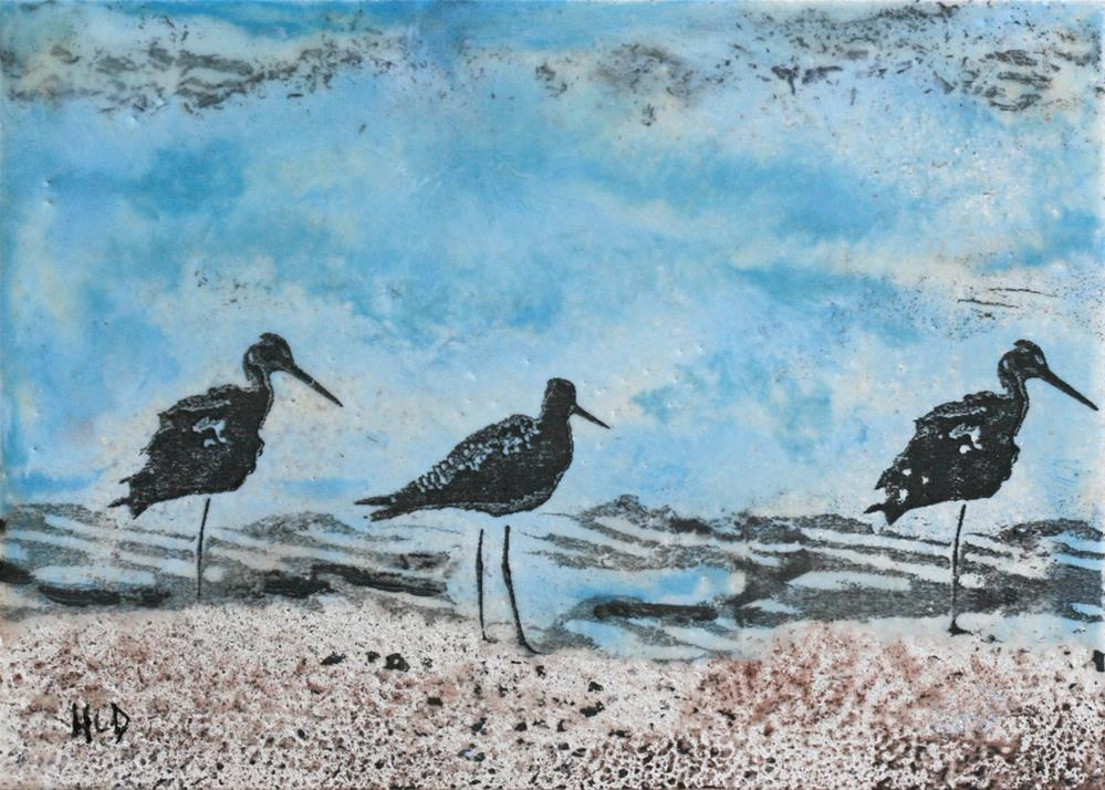 """Three Birds on the Rocks #2"" original fine art by Heather Douglas"