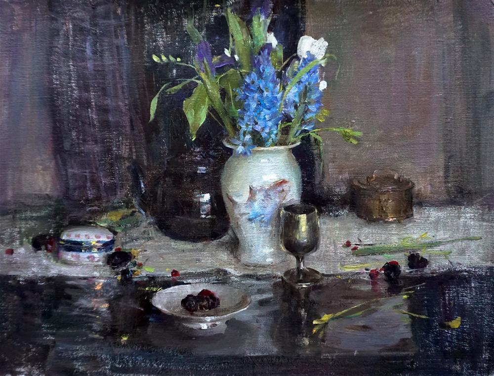 """Blue and gray"" original fine art by Taisia Kuklina"