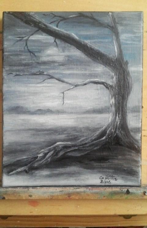 """Knarly Tree Silhouette Grey Landscape"" original fine art by Camille Morgan"