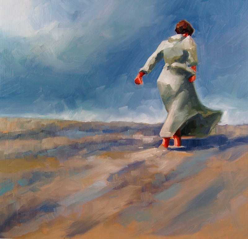 """No 423 Walking up the Hill"" original fine art by Robin J Mitchell"