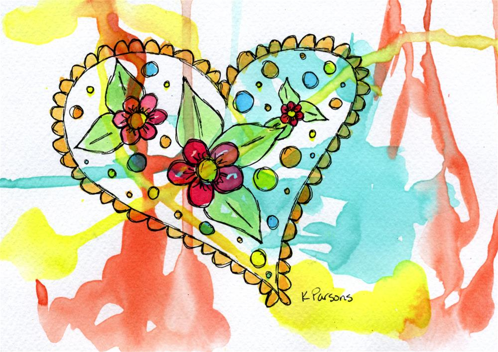 """""""One plus One equals Three, Flowers in a Heart"""" original fine art by Kali Parsons"""