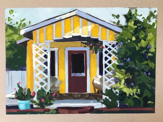 """The Cute Yellow House - gouache"" original fine art by Sharon Schock"
