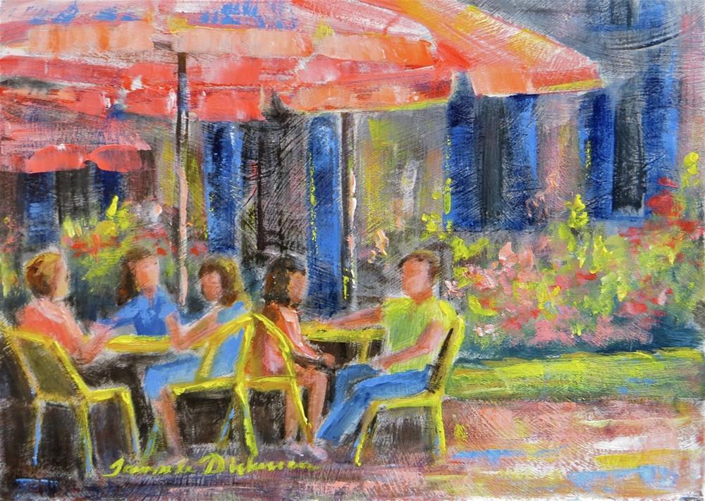 """Pink Umbrella Lunch"" original fine art by Tammie Dickerson"