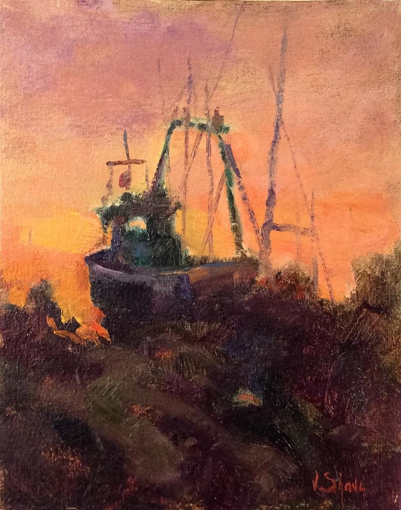 """Sunset Felxstow Ferry Boatyard"" original fine art by John Shave"