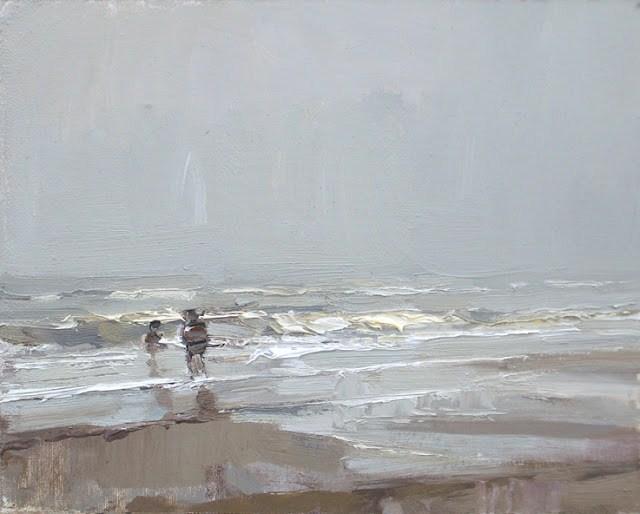 """Seascape winter #26 Foggy day children paddling"" original fine art by Roos Schuring"