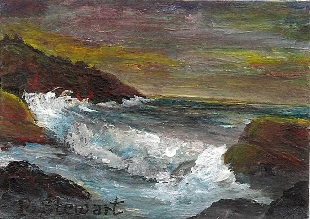 """ACEO Magnet Seascape Rocks and Waves"" original fine art by Penny Lee StewArt"
