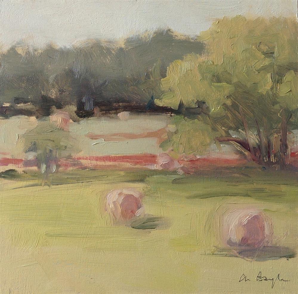 """Hay landscape 2"" original fine art by Christine Bayle"