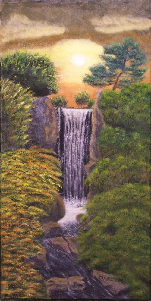 """Sunset at Shaw's Waterfall"" original fine art by John Marcum"