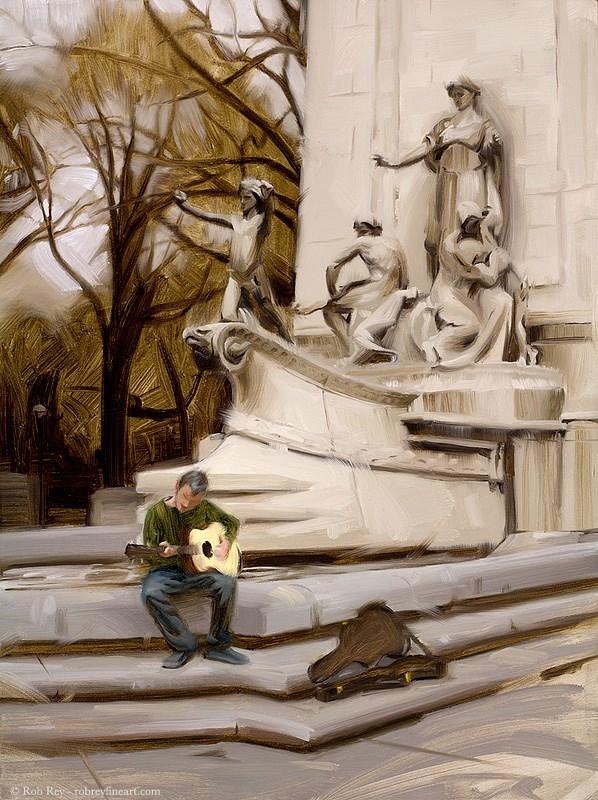 """Busking in Central Park"" original fine art by Rob  Rey"