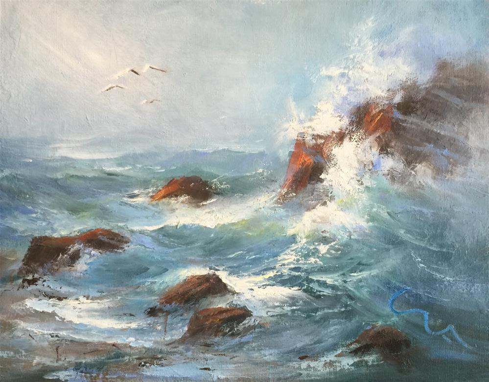 """""""Low Tide"""" original fine art by Sharon Abbott-Furze"""