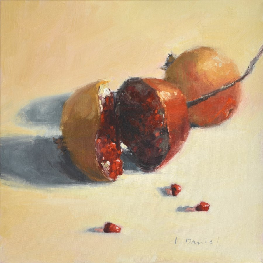 """Bursting Pomegranate"" original fine art by Laurel Daniel"