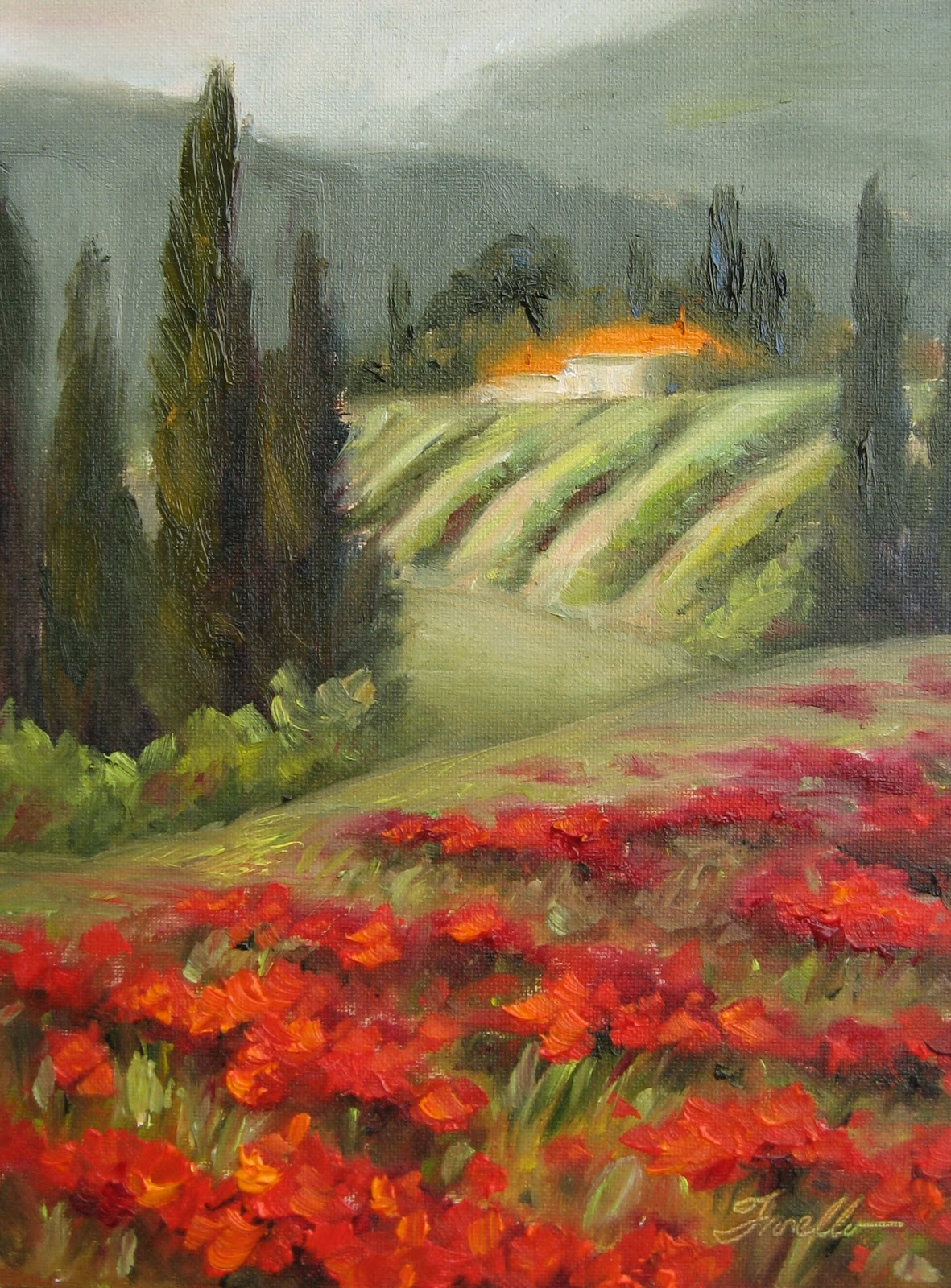 """""""Tuscany- Beyond the Poppies"""" original fine art by Pat Fiorello"""