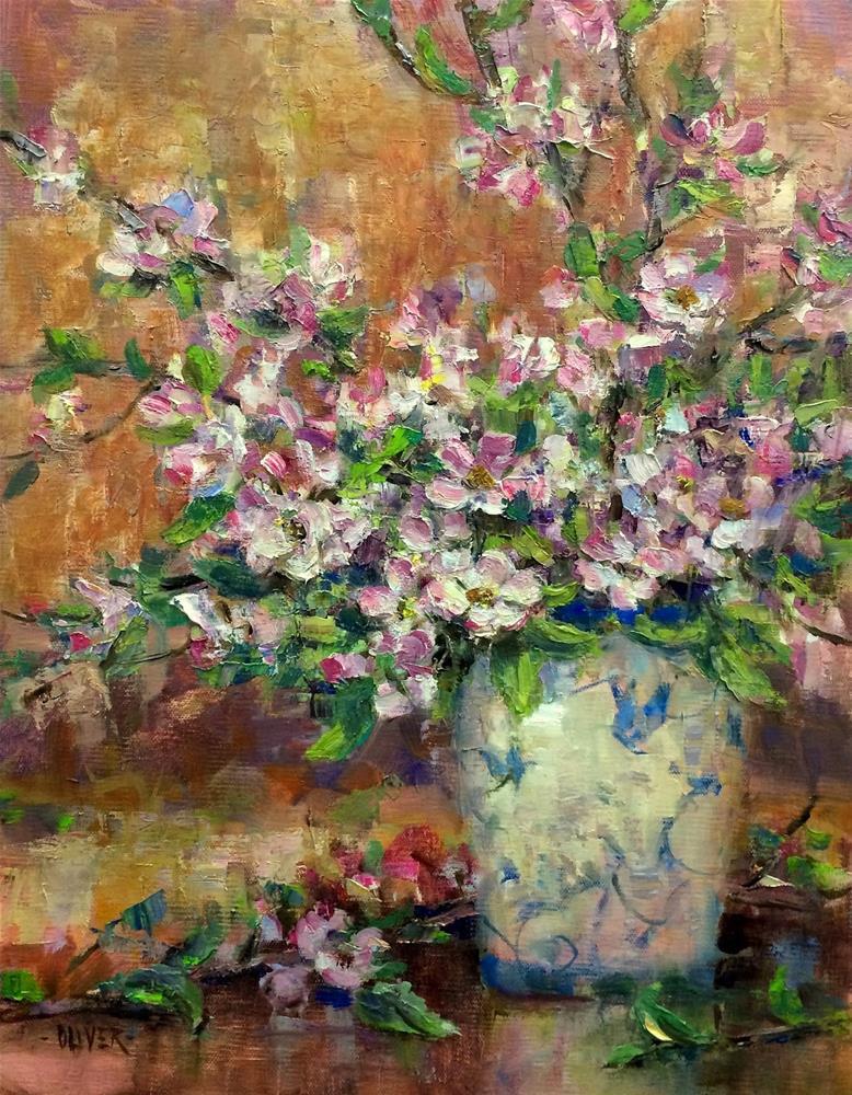 """""""Apples Blossoms"""" original fine art by Julie Ford Oliver"""