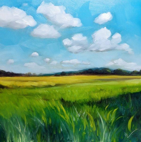 """Yellow Field"" original fine art by Wolfango Chiappella"