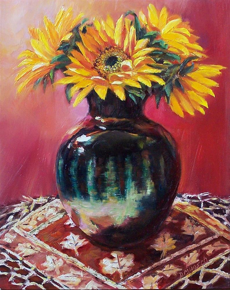 """""""Autumn Sunflowers"""" original fine art by Donna Munsch"""