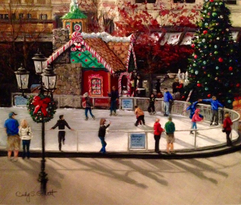 """The Village - Holiday on Ice"" original fine art by Cindy Gillett"
