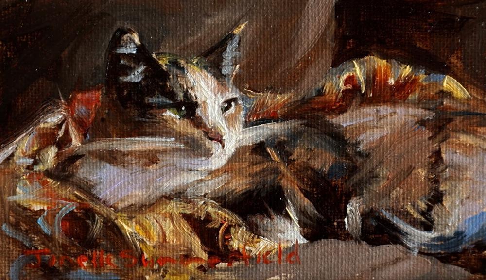 """Camo Cat"" original fine art by Jonelle Summerfield"