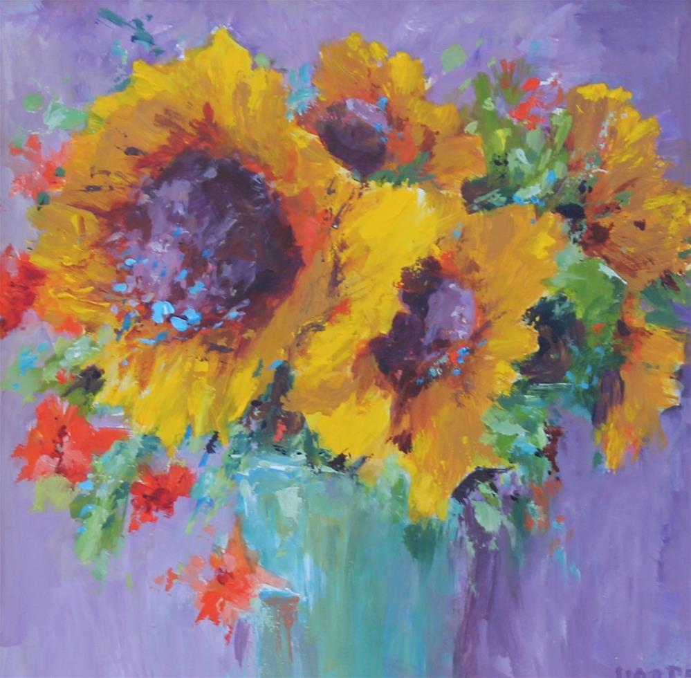 """sunflower floral flower garden acrylic painting"" original fine art by Alice Harpel"