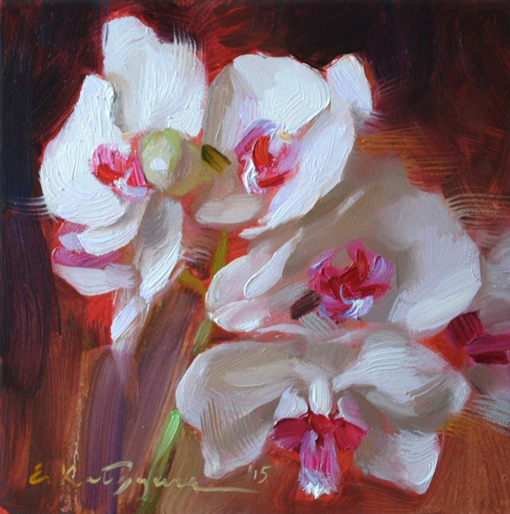 """White Orchid"" original fine art by Elena Katsyura"