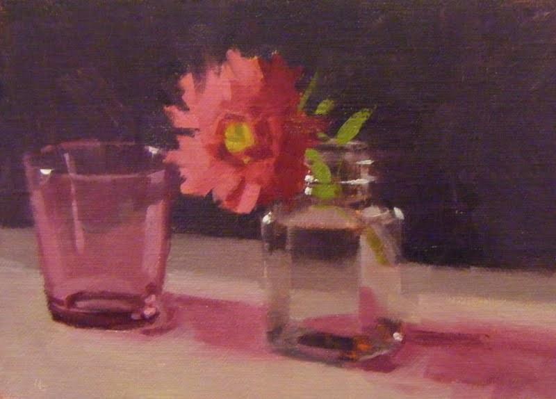 """""""PINK GLASS, PINK ASTOR"""" original fine art by Helen Cooper"""