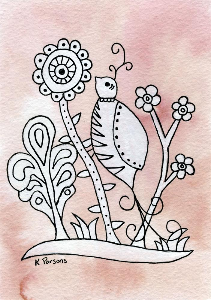 """""""Curly Top Bird, Mexican Bark Style"""" original fine art by Kali Parsons"""