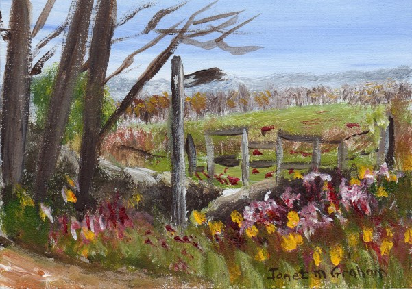 """English Countryside ACEO"" original fine art by Janet Graham"