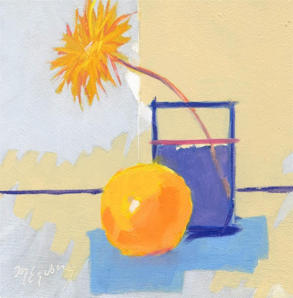 """""""Flower, Orange and Blue Vase"""" original fine art by Mitch Egeberg"""