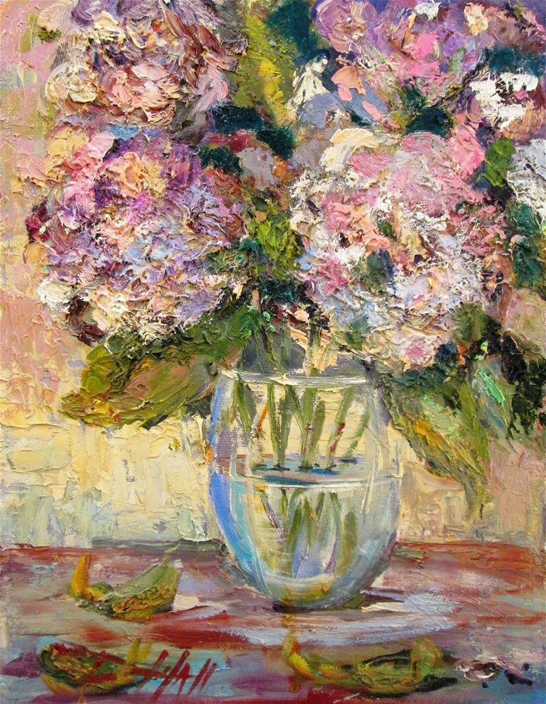 """Pretty in Pink Hydrangeas"" original fine art by Delilah Smith"