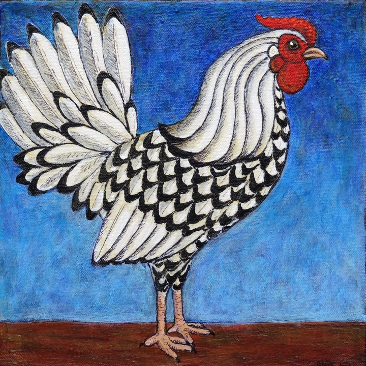 """""""Silver Spangled Hamburg Rooster"""" original fine art by Ande Hall"""