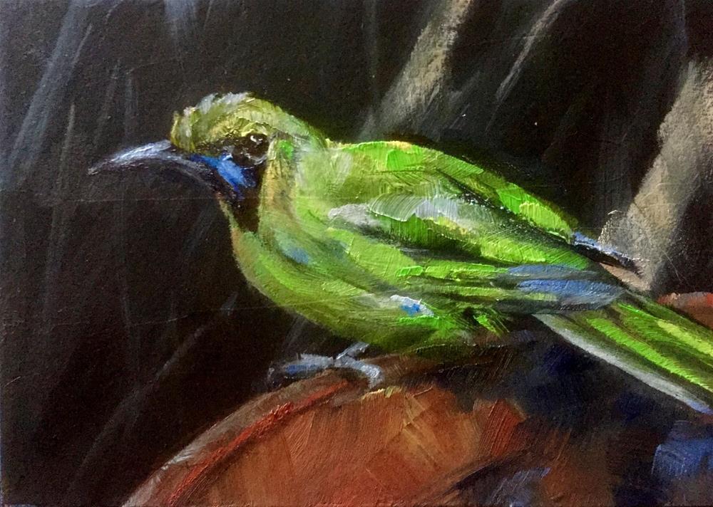 """""""Golden-fronted Leafbird"""" original fine art by Gary Bruton"""