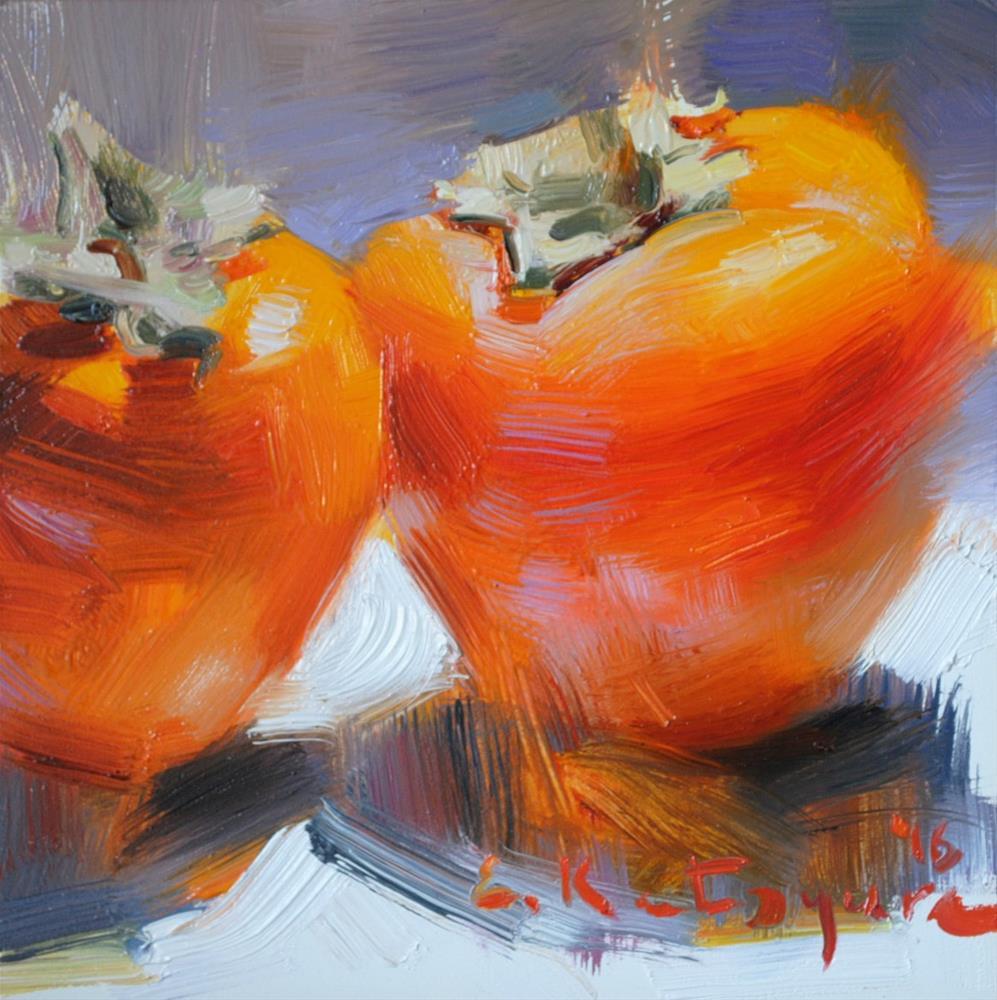 """Two Persimmons"" original fine art by Elena Katsyura"