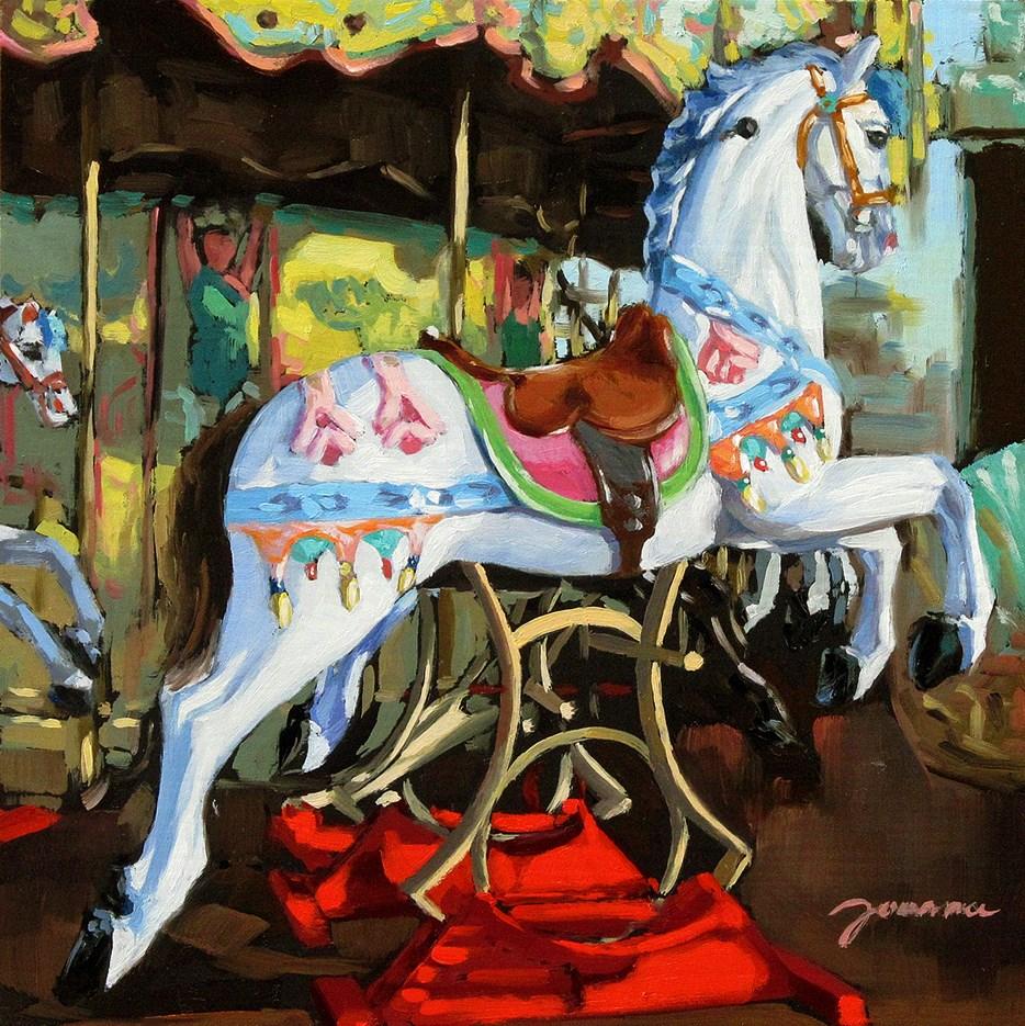 """Prance -- Painting of Fun Fair Rides"" original fine art by Joanna Bingham"