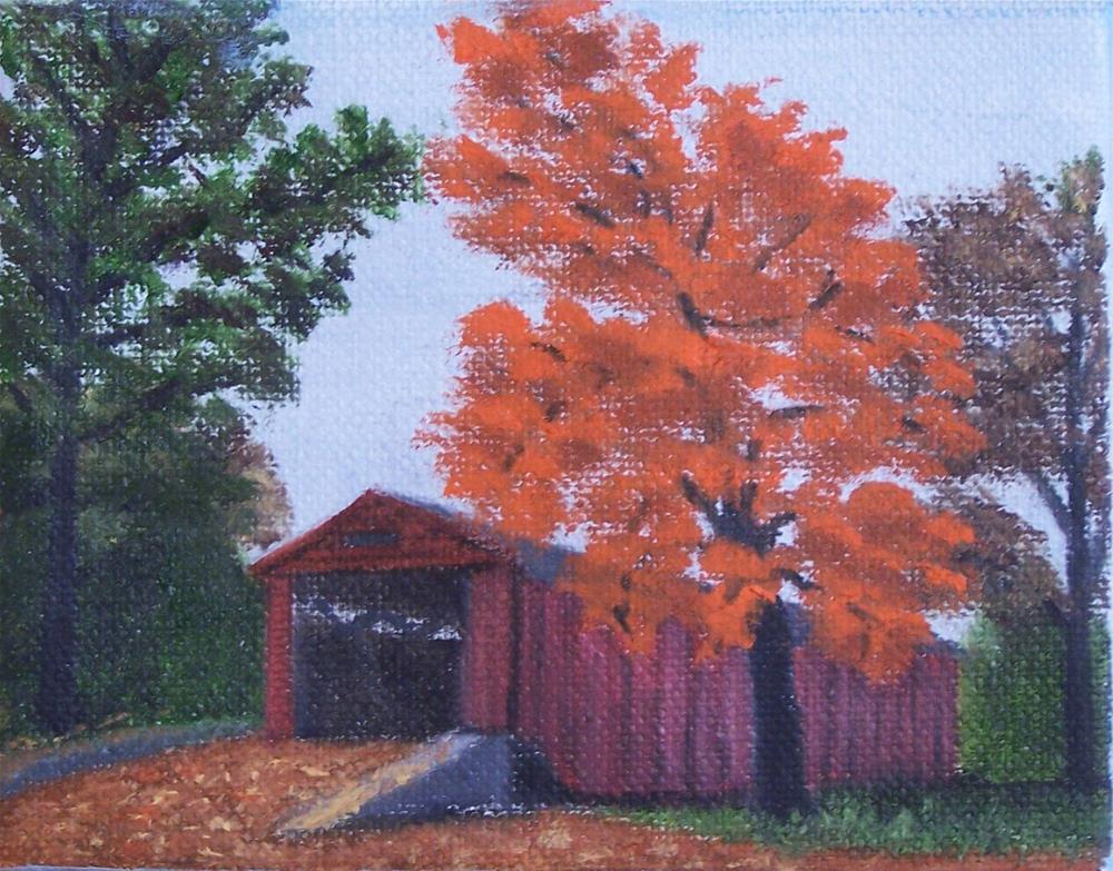"""Covered Bridge- Red"" original fine art by John Marcum"