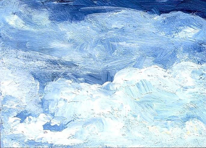"""ACEO Blue Sky White Clouds Skyscape Cloudscape by Penny Lee StewArt"" original fine art by Penny Lee StewArt"