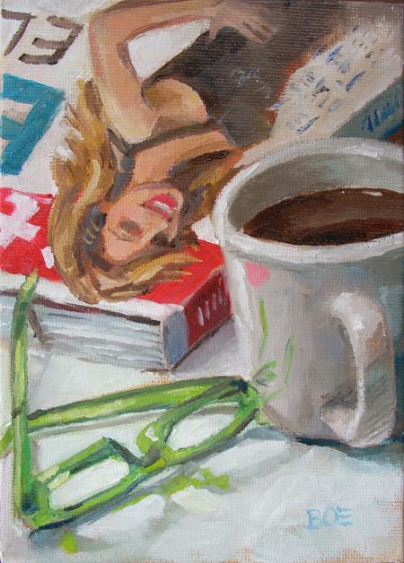 """""""Coffee Break"""" original fine art by Karen Boe"""