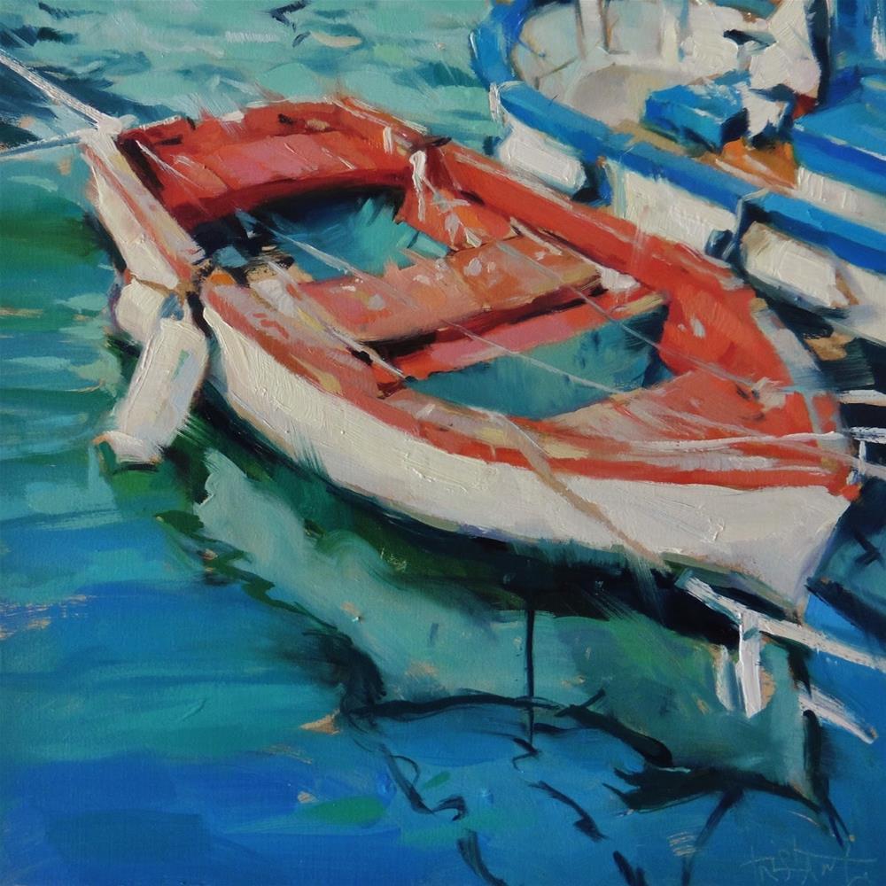 """Red fishing boat"" original fine art by Víctor Tristante"