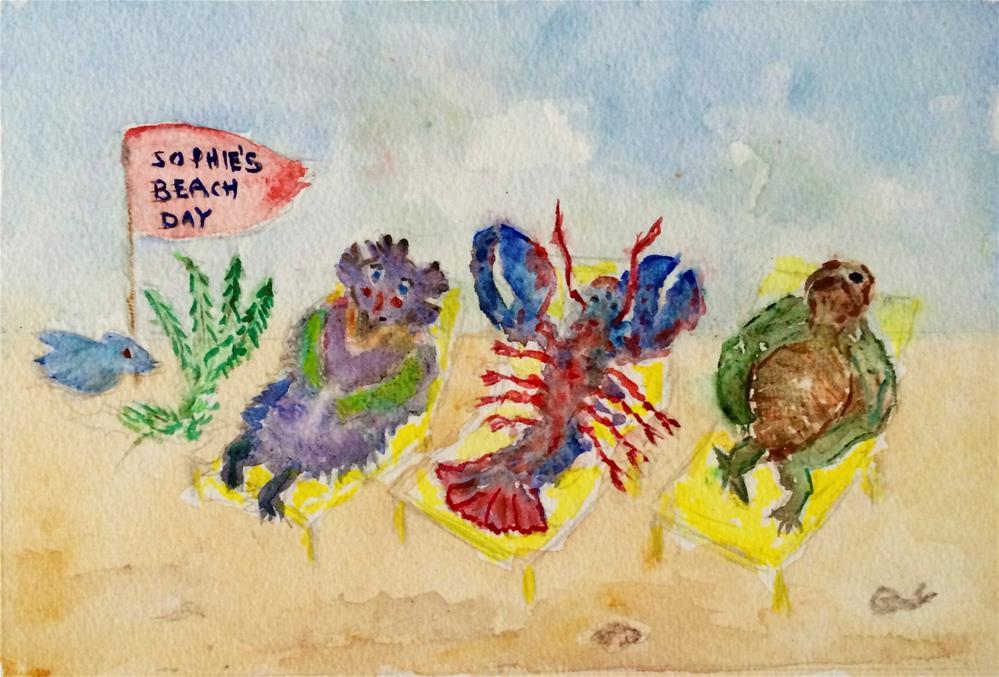 """Sophie's beach Day"" original fine art by Susan Medyn"