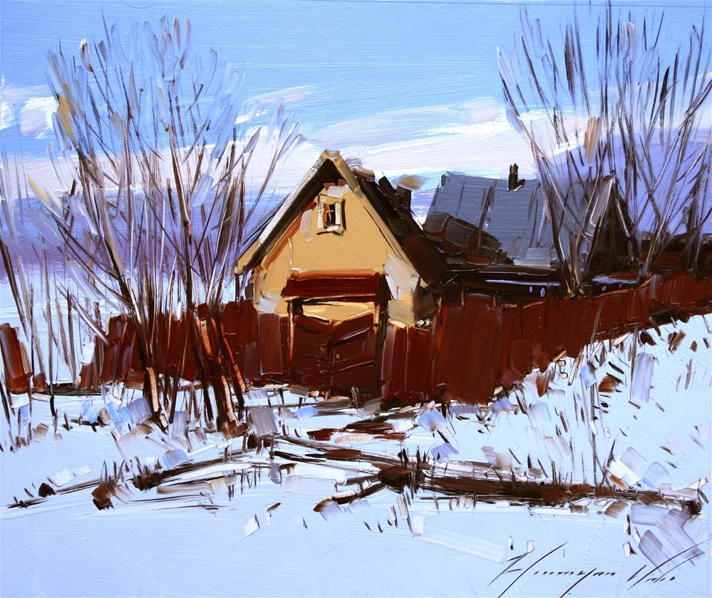 """""""VILLAGE OIL PAINTING ON CANVAS"""" original fine art by V Y"""