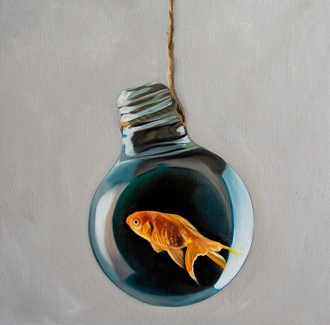 """Goldfish Light Bulb #14"" original fine art by Lauren Pretorius"