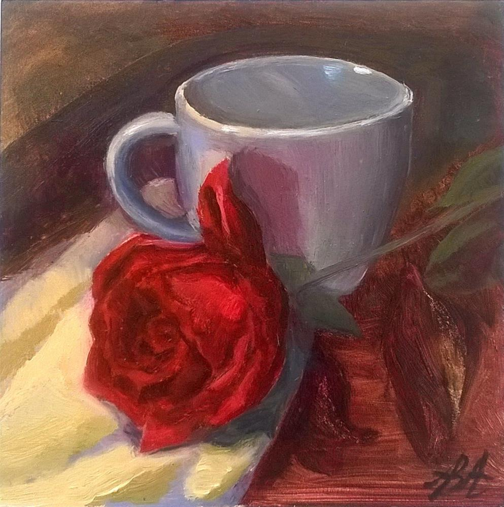 """""""Red Rose with White Cup"""" original fine art by Adriana B. Almquist"""