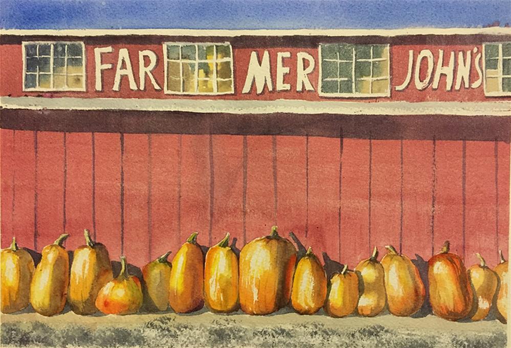 """Farmer John's pumpkins"" original fine art by Natasha Ramras"