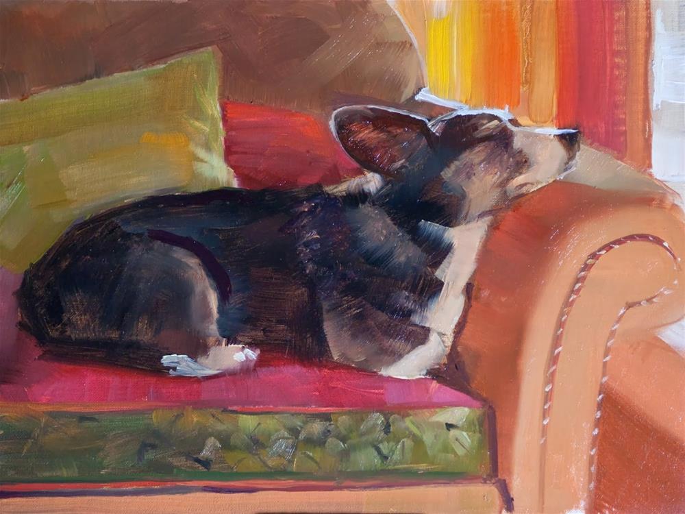 """Obie's Siesta by Beth Bathe"" original fine art by Beth Bathe"