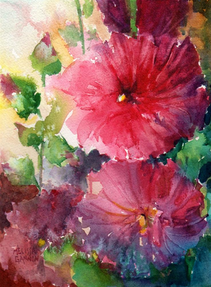 """Hollyhock Song"" original fine art by Melissa Gannon"