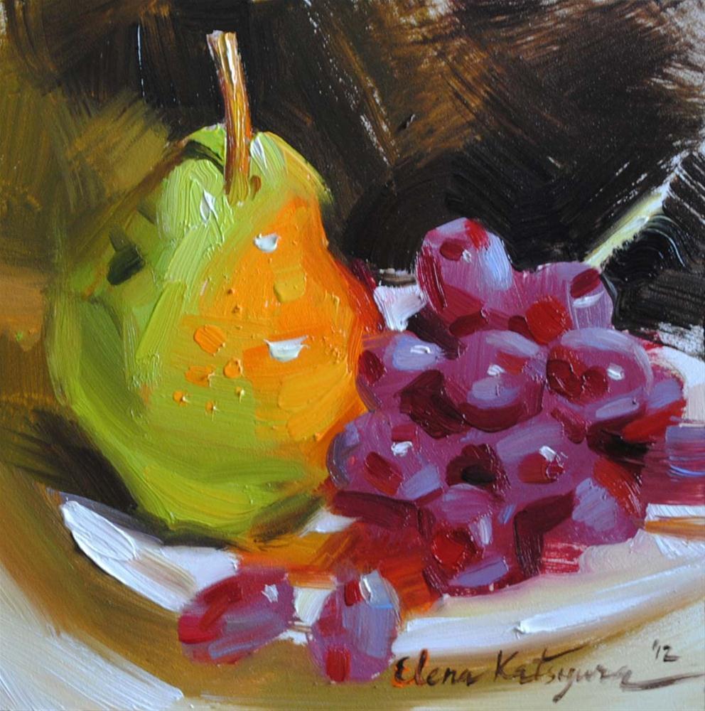 """Grapes and Pear"" original fine art by Elena Katsyura"