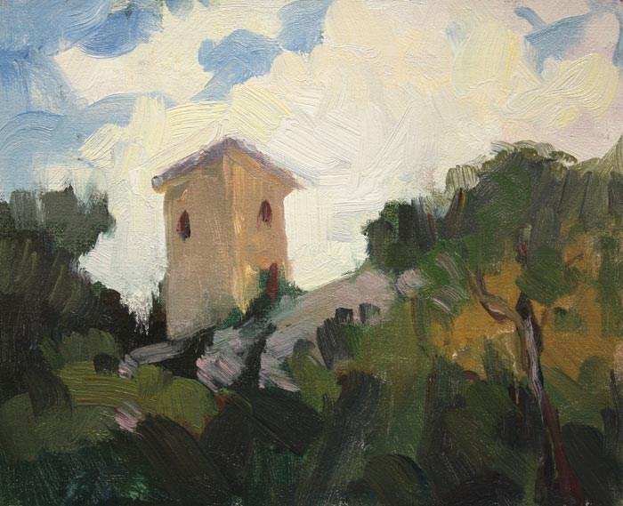 """Tower Umbria"" original fine art by Kathryn Townsend"