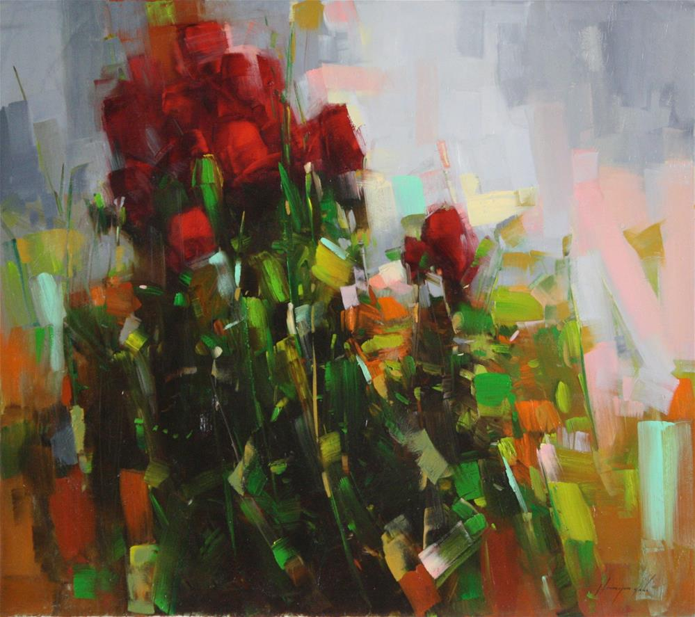 """""""ABSTRACT ROSES ORIGINAL OIL PAINTING"""" original fine art by V Y"""