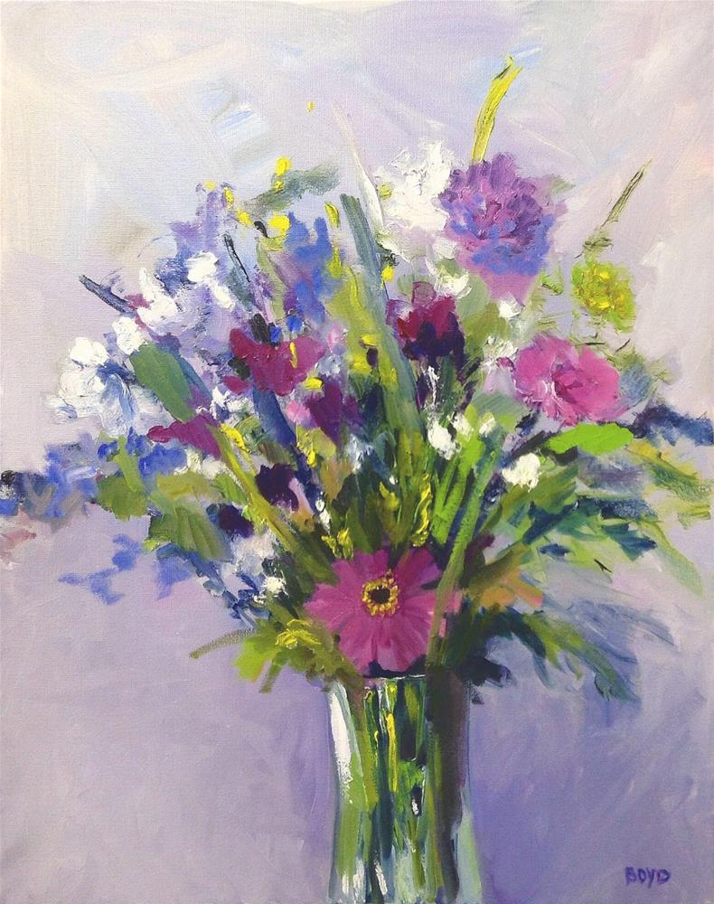 """Bouquet in Purples"" original fine art by Cathy Boyd"