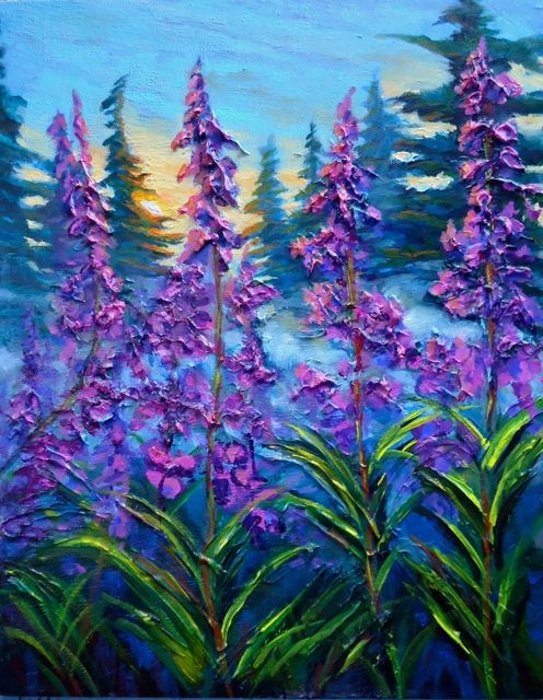 """""""Impasto Early Morning, Fireweed"""" original fine art by Jackie Irvine"""