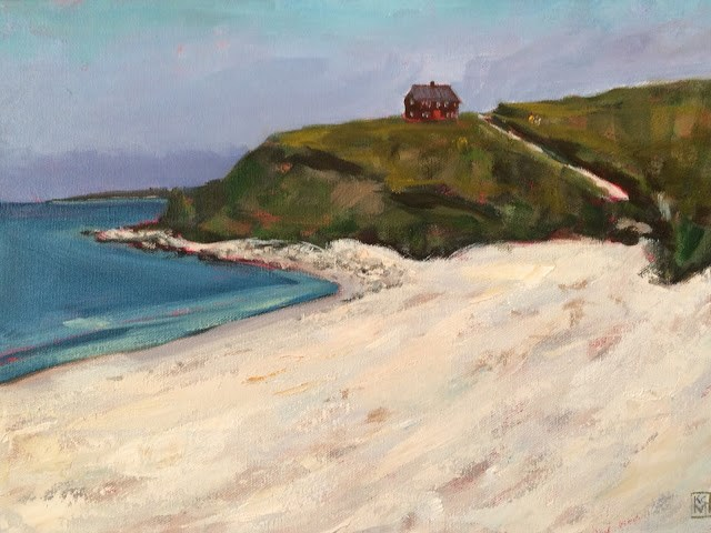 """Church Beach, Cuttyhunk Island, 12x16 acrylic by Kelley MacDonald"" original fine art by Kelley MacDonald"